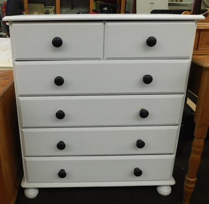 2 over 4 chest of painted pine drawers