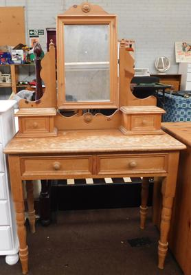 Antique style pine mirrored bedroom dressing table