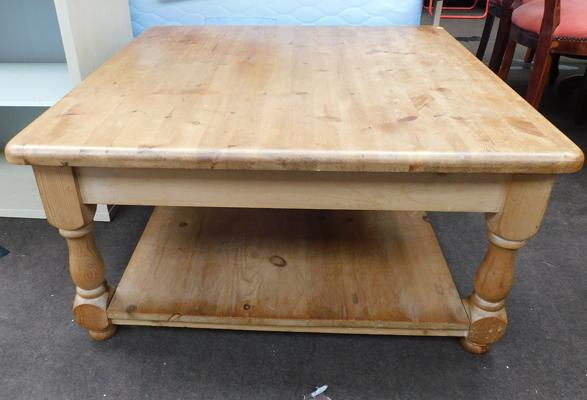 Large pine coffee table approx 35x35""