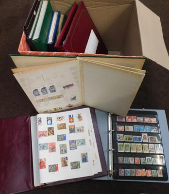 Box containing 10 stamps albums, Commonwealth etc