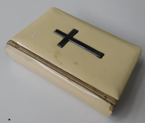 Bible in case with silver hallmarked cross
