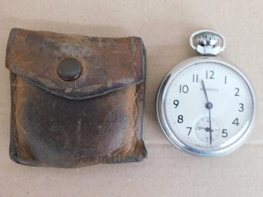 Chrome Ingersol hand wound pocket watch, W/O in original leather case