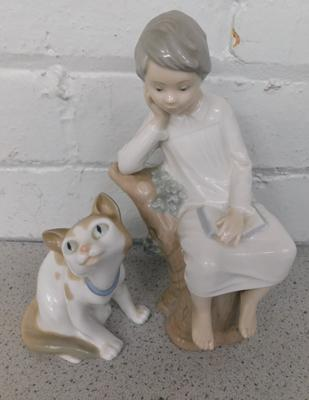 Lladro child sat on branch + Nao cat