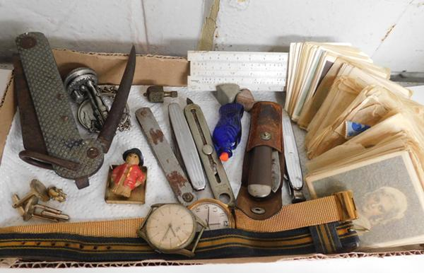 Assortment of collectables, incl. pen knives, watches, photographs