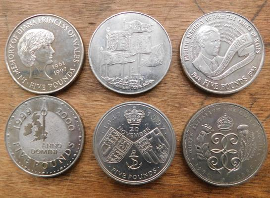 6 x mixed five pound coins