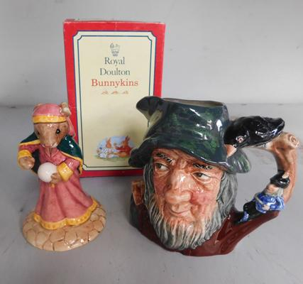Royal Doulton Rip van Winkle small toby jug & Bunnykins Fortune Teller figure with box