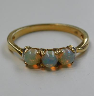 Silver opal trilogy ring, gold plated 1/2 carat, Ethiopian well opal size R