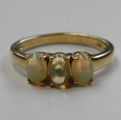 Silver opal trilogy ring, gold plated size P 3/4