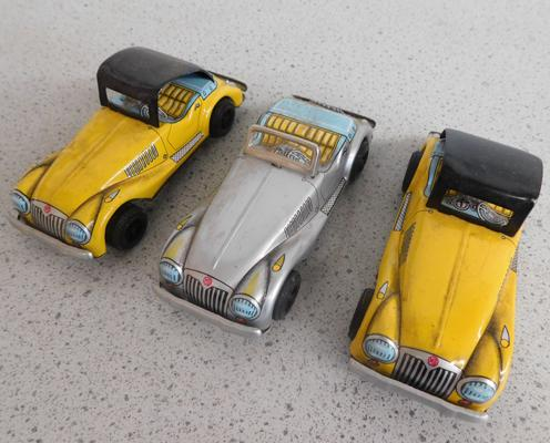 3 x 1950s tinplate friction driven MG sports cars