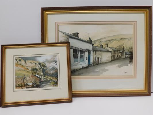 "Large framed watercolour local scene Kettlewell by Terry Logan (27.5 x 22.5"") frame + framed watercolour Kilnsey Crag also by Terry Logan"