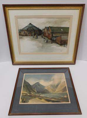 "Large framed watercolour local scene Old Skipton Auction Mart by terry Logan (27.5x22.5""in frame)+ framed print Wasswater by W Heaton Cooper"