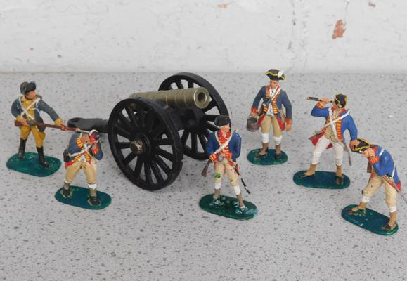 Selection of painted American War of Independence figures & cannon