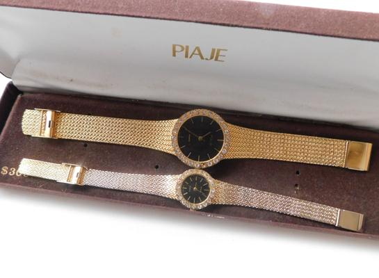 Paije His & Hers gold plated watch set & box with fully stone encrusted outer