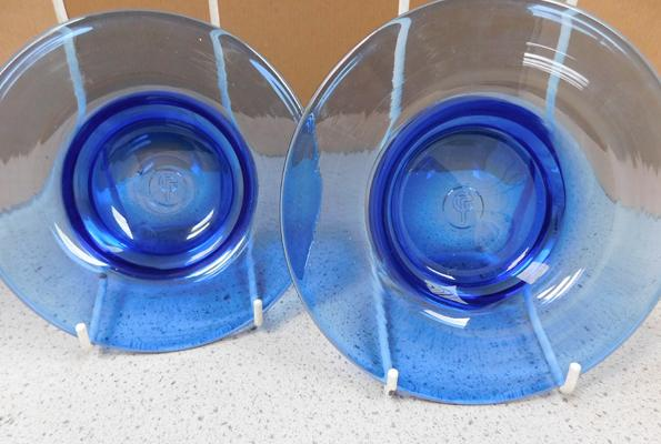 "Liskeard pair of blue glass dishes 6 3/4""-no damage found"