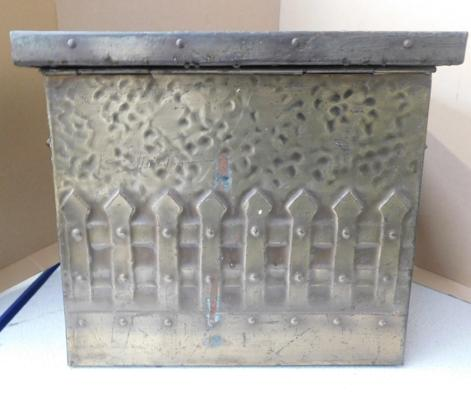 Brass coal storage box with winged lid & lift out liner
