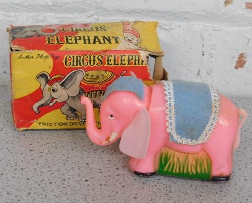 Vintage friction circus elephant with box
