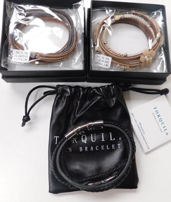 3x new boxed leather bracelets