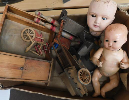 Box of vintage dolls house furniture & 1910 doll
