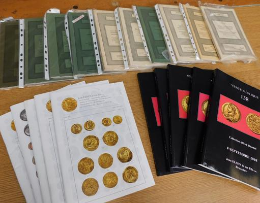Collection of auction catalogues-Sotherbys (resulets of auctions & buyers) + coin catalogues