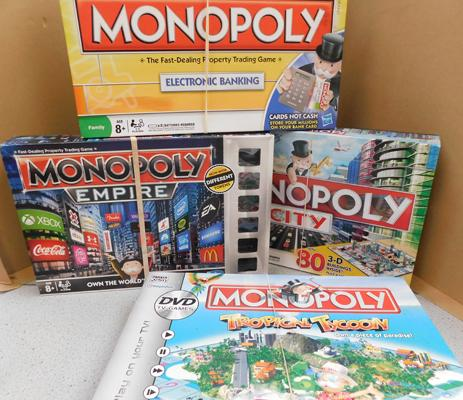 4x Monopoly board games (all complete) Tropical Tycoon, electric banking, empire, city