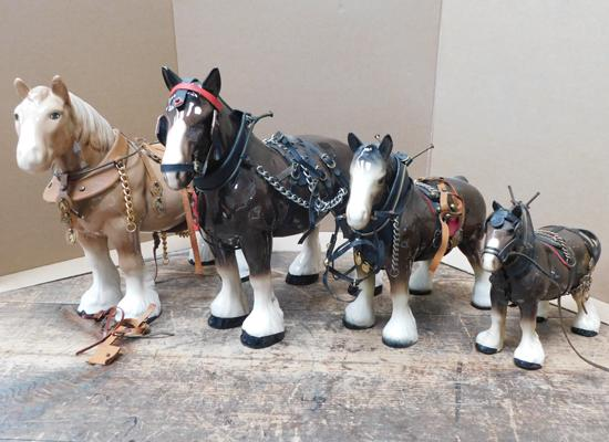 4x Shire horses (one with damage to ear)