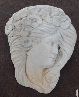 Wall mountable stoneware sconce ladies head