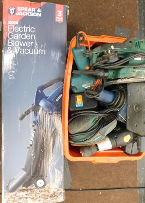 Box of electrical tools & electric garden blower - all unchecked, as seen