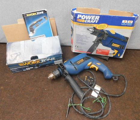 Power Craft hammer drill + Workzone multi function tool