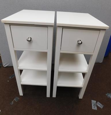 "2x White single drawer bedside units approx 31"" tall"