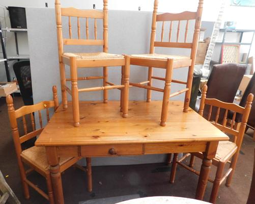 Pine table with drawer & 4 chairs