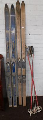 2x vintage sets of skis and poles