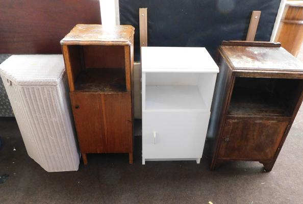 3x Bedside cabinets + Lloyd loom style laundry backet