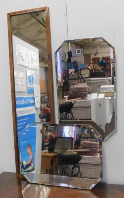 2x Vintage bevel edge mirrors + 1 tall framed mirror