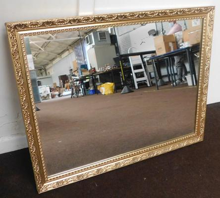 Large gilt frame style mirror, approx. 26.5 x 20.5 inches landscape