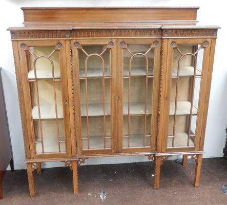 Large 4 sectioned glass fronted display cabinet