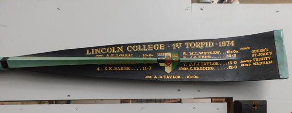 Large presentation oar-Lincoln college 1st Torpid 1974