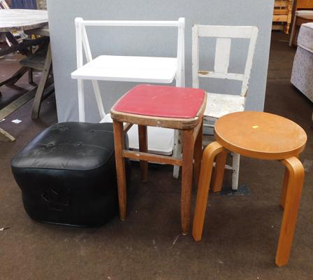 Selection of vintage chairs & stools etc