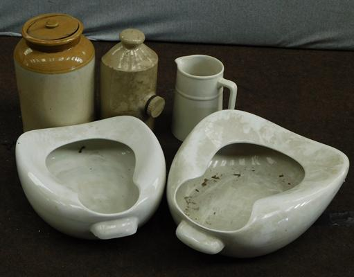 Selection of vintage bed pans, stoneware etc