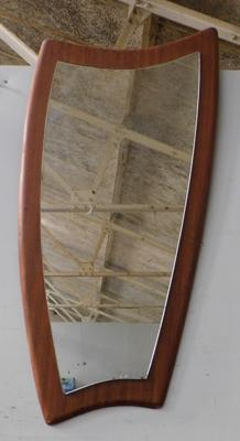 Mid century shaped mirror on wooden board frame