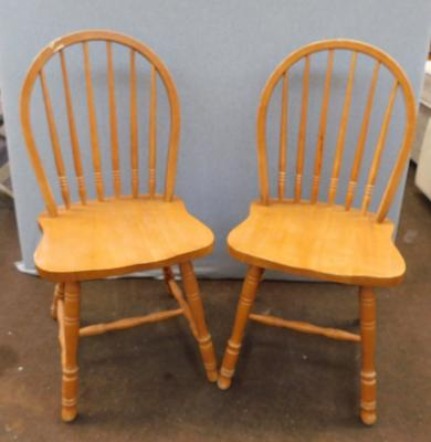 Pair of farmhouse style dining chairs