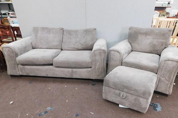 Sofa bed settee, chair & pouffe