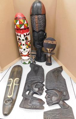 Assortment of reproduction African masks
