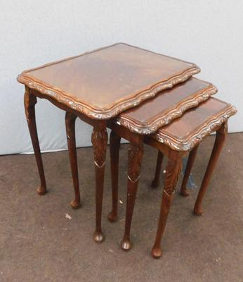 Set of 3 glass topped nesting tables