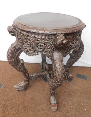 Heavy carved wood occasional table (18 inches tall)