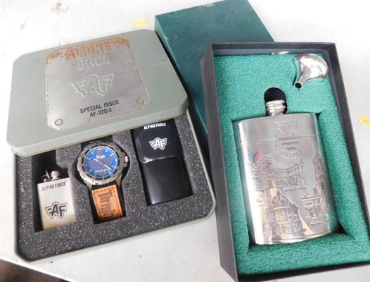 Boxed Alpine Force watch  + boxed hip flask