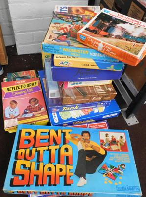 Large box of vintage games etc