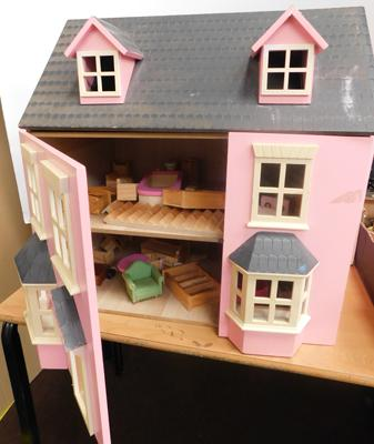 Large vintage dolls house, opening hinged, front + top with all room accessories/furniture
