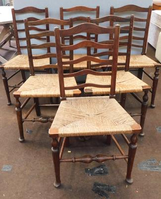 Set of 6 rattan seated dining chairs
