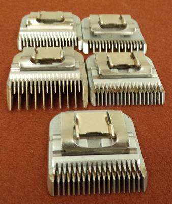 Professional dog clipper blades x 5, will fit any A-5 type clippers (4 x Oster blades + 1 x groom)
