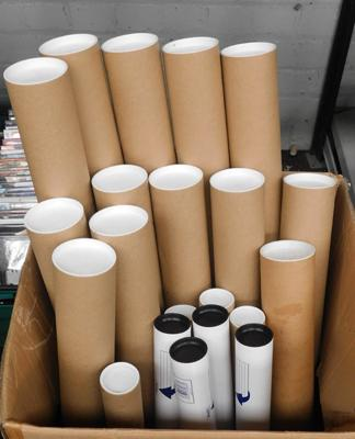 Large box of new/unused postage tubes-various sizes